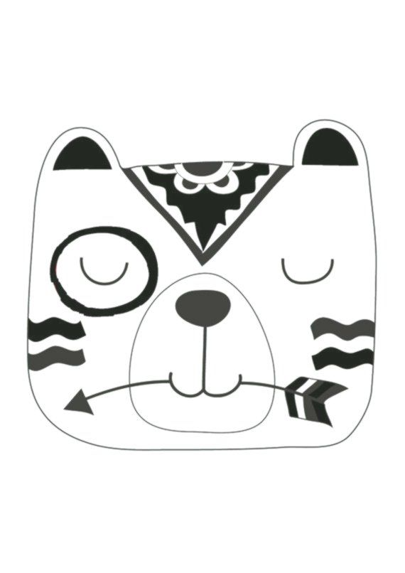 Monochrome Tribal Bear Print Kinderzimmer Print