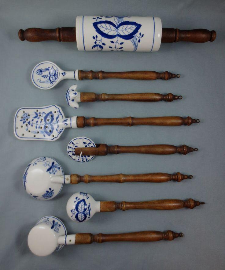 Vintage or Antique Lot of 8 GERMAN BLUE ONION KITCHEN UTENSIL TOOLS Wood Handles