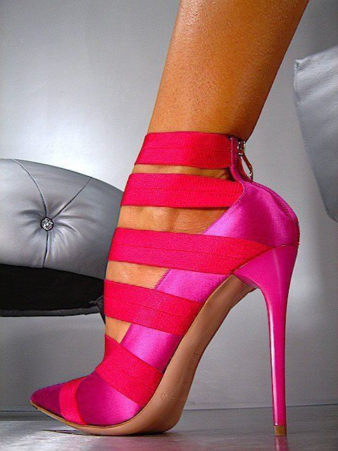 Shocking-pink high heels