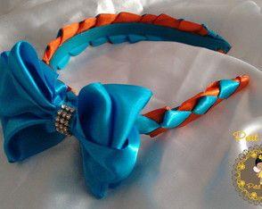 Tiara Trançada Azul e Laranja c/ Laço