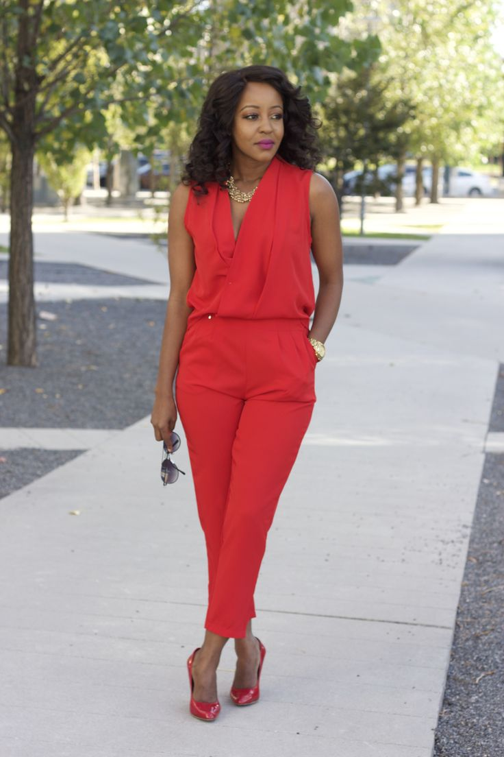 How to wear all red. Red jumpsuit