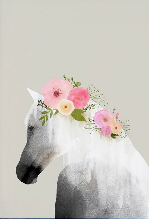 Horse art print with flowers in mane, animal print, horse watercolor, home wall decor, apartment wall art, horse poster, nursery decor, gift  ………………………………….…………………………………. I am a Canadian based artist. This is an archival high quality print of my original illustration. It is printed on fine art, 100% cotton, archival paper ❋FRAME NOT INCLUDED❋ ………………………………….…………………………………. ❋SIZES❋ 5 x 7 8 x 10 8.5 x 11 9 x 12 11 x 14 (shipped in mailing tube) 12 x 16 (shipped in mailing tube) 13 x 19 (shipped…