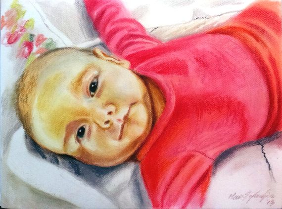 Custom BABY Portrait  PASTEL drawing by BabyPortraitArt on Etsy