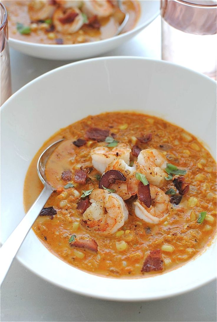 Smoky corn chowder with shrimp, from Bev Cooks.