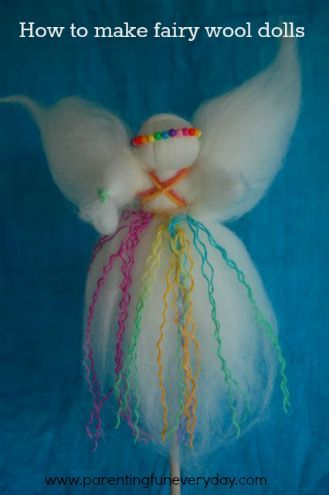 Craft no. 9 in the 30 days of Christmas crafts How to make fairy wool dolls: Rainbow twirl version www.parentingfuneveryday.com