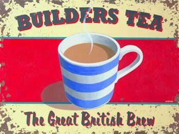 "Builders Tea Metal Sign by OMSC. $16.25. Ships in Ploy-bag for complete protection. Glossy, full-color, enamalized imaged baked onto thick, 24-gauge steel. This sign measures 9"" by 12"". Eco-friendly process, hand-made in the USA. Rounded corners with holes for easy hanging. This sign features art by Martin Wiscombe. Born and raised in Lyme Regis, Dorset, Martin studied illustration and design in the west country, then went on to spend more than 15 years working in London. A..."
