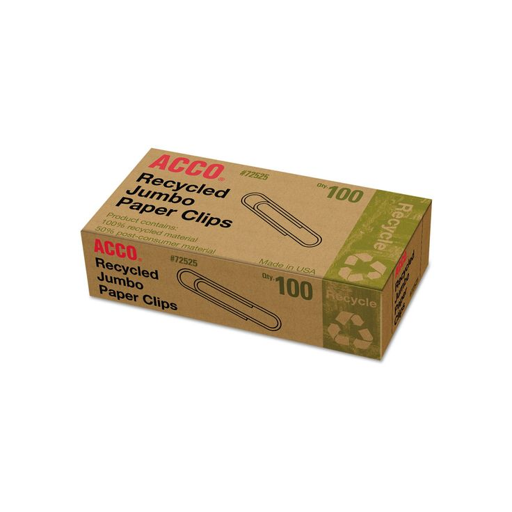 Acco Recycled Paper Clips, Jumbo (100 per Box, 10 Boxes per Pack), Silver