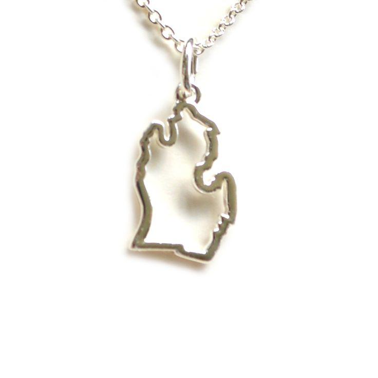 Silver Mitten Michigan Necklace | Two Fish Gallery | Leland Mi
