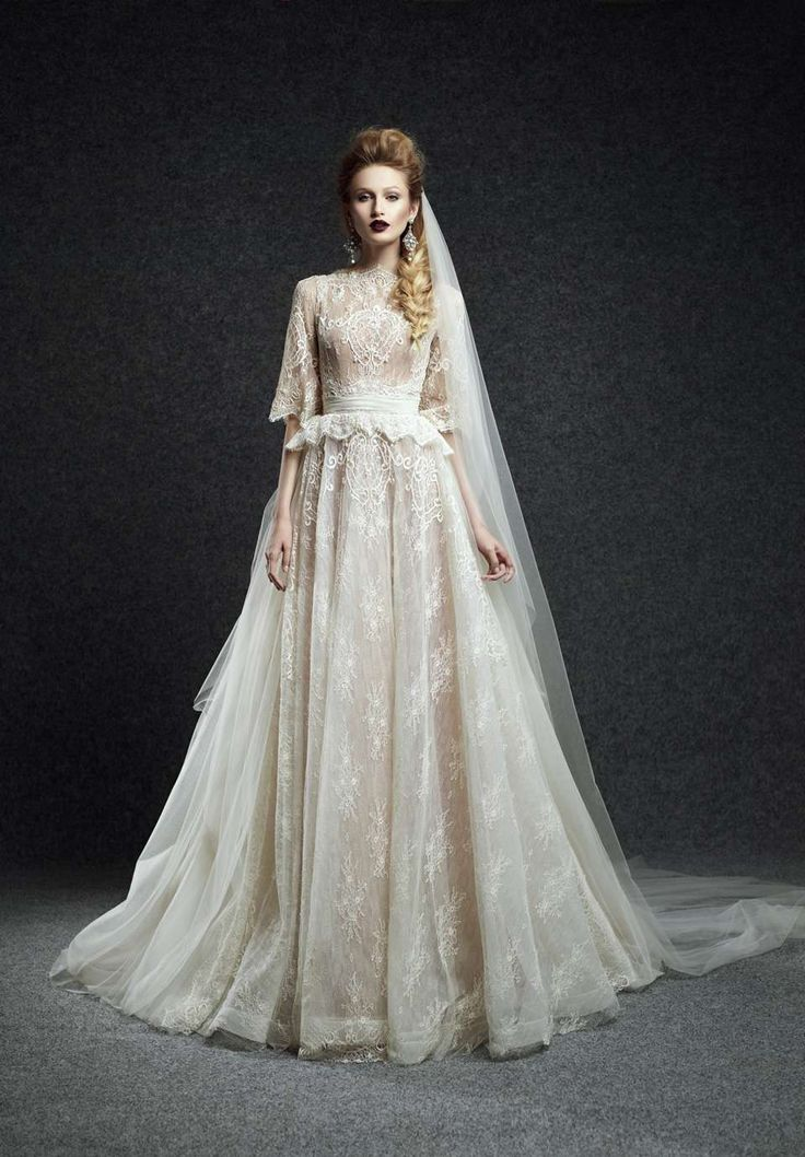 Wishesbridal Vintage High Neck Lace Half Sleeve Ball Gown Wedding Dress Aes0005