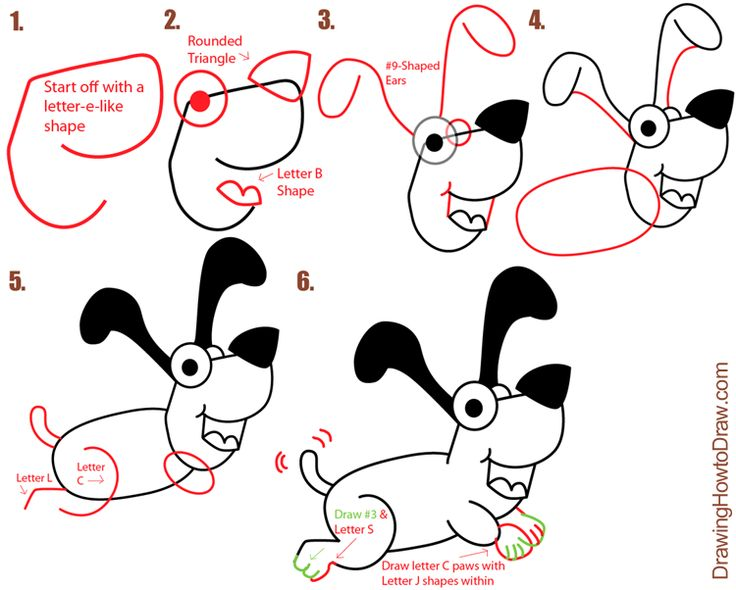 big guide to drawing cartoon dogs puppies with basic shapes for kids how to - Cartoons Drawing For Kids