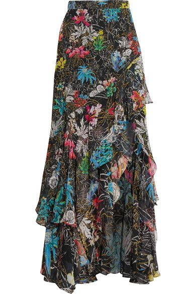 Peter Pilotto's Maxi-Skirt is printed with Multi-Colored Sketched Florals on Black in Lightweight Silk-Georgette. It has an A-Line Silhouette with Tiered Swathes of Ruffles and an Asymmetric Hem. Top it with Fuchsia Cotton Top that sits Off-The-Shoulders and Gathers in a Ring. It has a Raised Waist and a Ruffled Peplum. I've got lots of Pink Tourmaline - Necklace, Earrings & Ring and Black Suede Wedge Sandals and Cross-Body Bag (It's all on this board). Feels like a Party to me! - Gabrielle