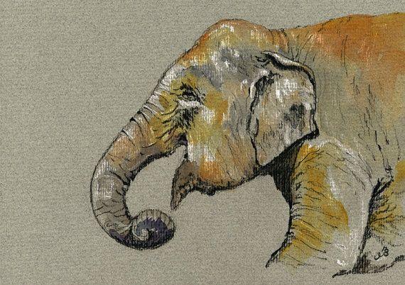 PRINT-Male elephant indian animal by SanMartinArtsCrafts on Etsy