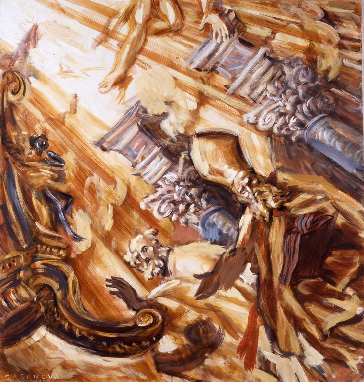 Philippe Casanova; Inside Saint Peter Basilica; detail of the Bernini's sculptures fo the Main Altar; tempera on paper lined on canva; 2008