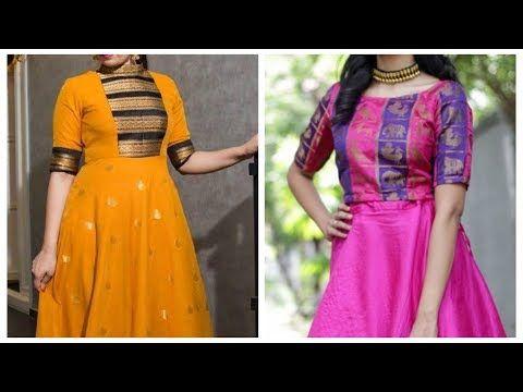bc7eddec2 Chanderi silk kurti design Floor length anarkali suit Reuse old silk saree  - YouTube 2019