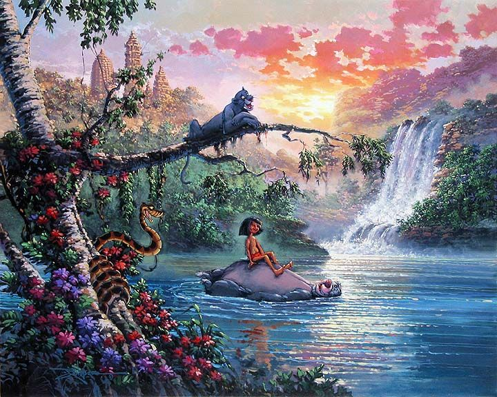 Thomas Kinkade Disney Paintings | Rodel Gonzalez - The Bear Necessities of Life