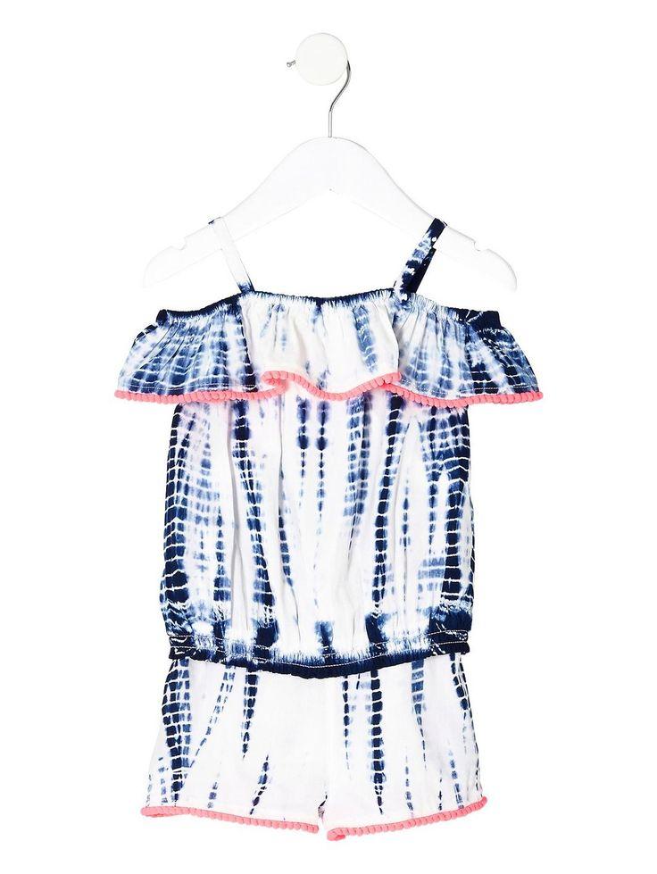 River Island Mini Girls Blue Tie Dye Bardot Top Outfit, http://www.very.co.uk/river-island-mini-girls-blue-tie-dye-bardot-top-outfit/1600156970.prd