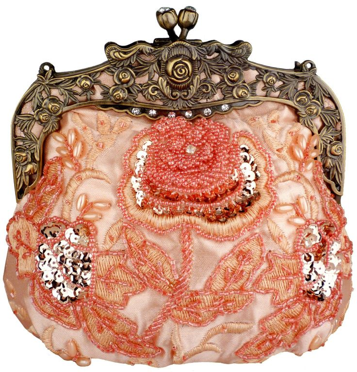 Antique style beaded coral evening bag.