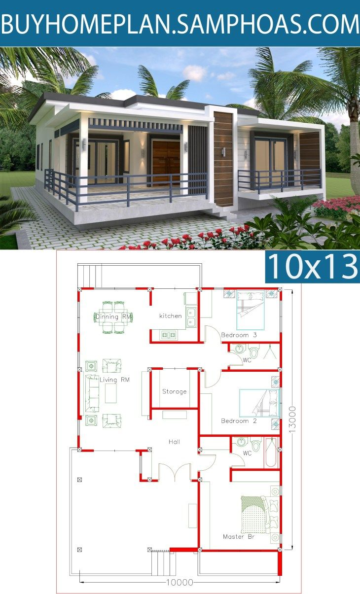 Sketchup Home Design Plan 10x13m With 3 Bedrooms Samphoas Com Home Design Plan House Design Bungalow House Design