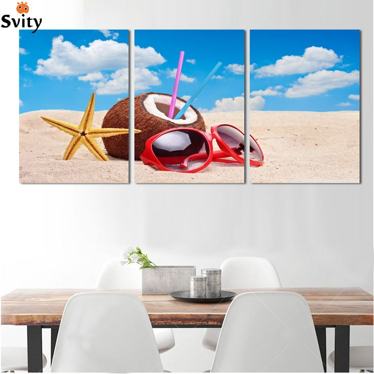 Hot Sell Summer sea beach Modern  3 panel CANCAS Art Wall Painting Home Decor HD Print Canvas Picture Direct Selling no frame