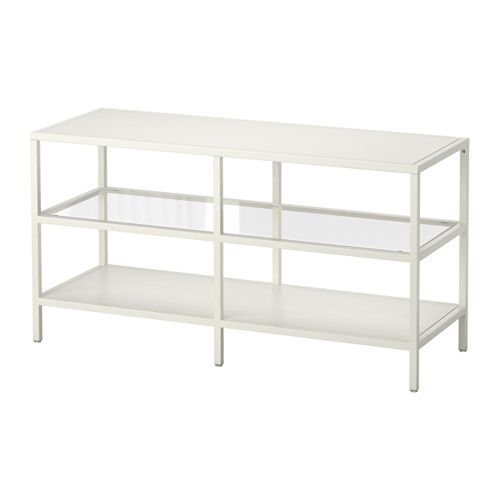 IKEA - VITTSJÖ, TV bench, white/glass, , Tempered glass and metal are durable materials that provide an open, airy feel.2 open compartments for a DVD-player, etc.Self-adhesive cable clips keep your cords in place and out of sight.Adjustable feet; stands steady also on an uneven floor.