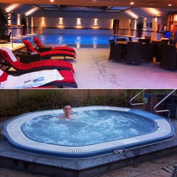 Relax in out outdoor hot tub. #spa #pool #hottub #relax #hotel #knutsford #cheshire  Image - @jade_efc - https://instagram.com/p/1RBD8Lw6gf/?taken-by=jade_efc