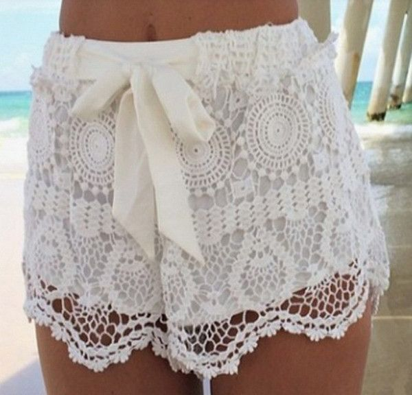 Women's Crochet Design Lace Shorts! These are SUPER comfy and are oh so cute! These feature an elastic waist topped of with a bow. Inside is lined with a nice s
