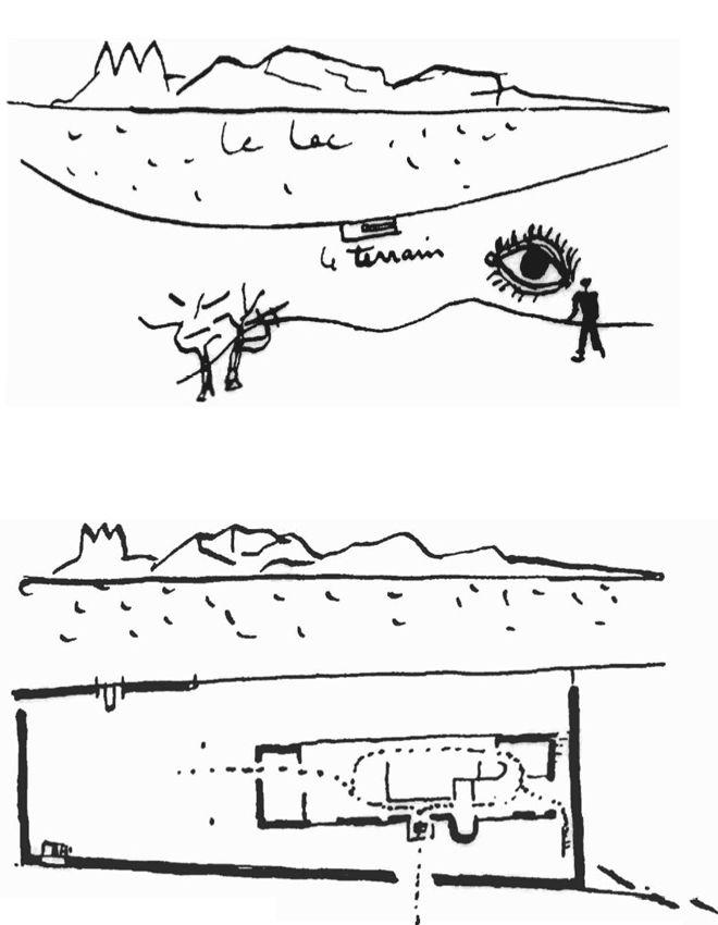 """LE CORBUSIER  UNE PETITE MAISON ON THE SHORES OF LAC LÉMAN, 1952  """"On a découvert le terrain; Le plan est installé…"""""""