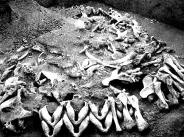 Meżyricz (ukraina) - fragment paleolitycznej architektury. zespół chat z ziemi i kości mamuta