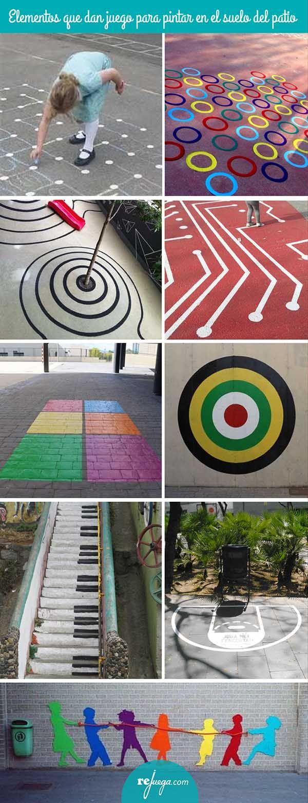 elementos pintados en el suelo que invitan a jugar libremente