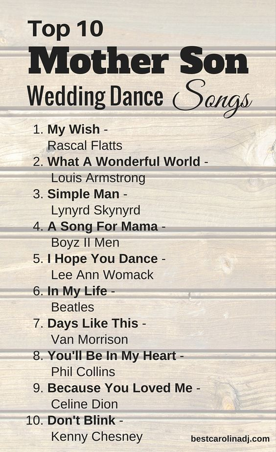 Top 10 Mother Son Wedding Dance Songs For Traditional Southern Weddings By Www Bestcarolinadj
