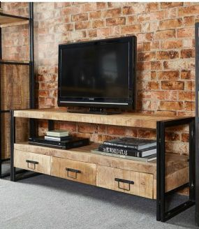 Cosmo Industrial Reclaimed Wood And Metal Large Plasma TV / Media Unit With Three Drawers