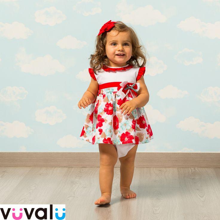 Bonito #vestido estampado en tonos rojos marca #babyferr