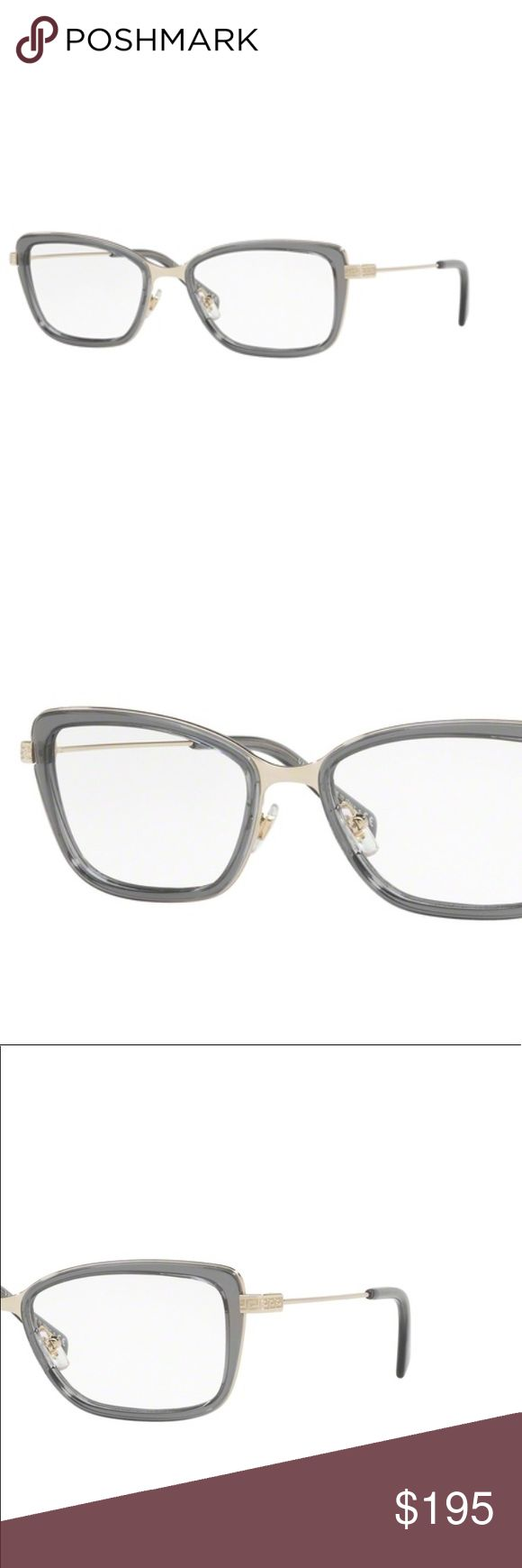 Versace eyeglass frame Versace prescription eyeglass frame with Pale gold and gray details. Versace Accessories