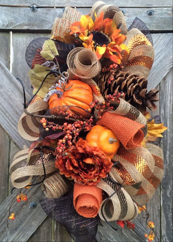 Fall Swag Fall Wreath Fall Decoration Halloween by BaBamWreaths