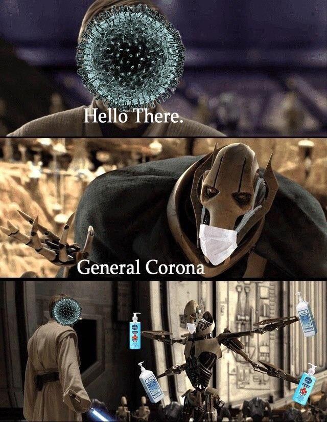 Starwars Meme Kenobi Grievous Coronovirus Star Wars Memes Funny Star Wars Memes Star Wars Comics