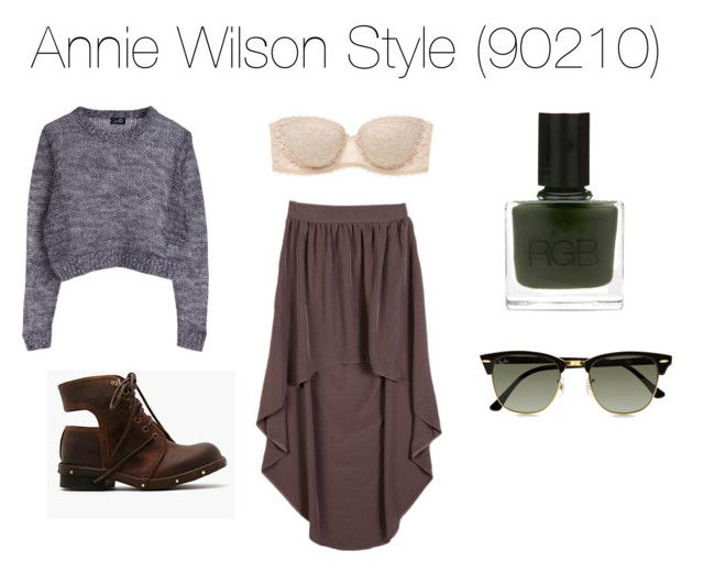 Annie Wilson by hippie-bia on Polyvore featuring polyvore, fashion, style, Forever 21, American Eagle Outfitters, Jeffrey Campbell, Ray-Ban, RGB, clothing, cropped sweaters, cable knit sweaters, high-low skirts, bandeau tops, combat boots, lace bandeu tops, grimmes, shenae, clubmaster sunglasses, 90210, shenae grimmes, sunglasses, annie wilson, annie, wilson and nail polish