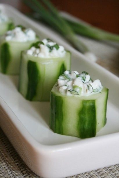 3. Cucumber Slices topped with 2 tbsp Cottage Cheese | Community Post: 22 Healthy Snacks Under 100 Calories ; http://www.buzzfeed.com/bethanyt7/22-healthy-snacks-under-100-calories-mtzj