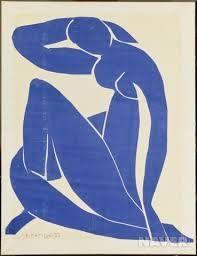 앙리 마티스 , 푸른누드 야수파의 거장이었던 앙리 마티스는 노년에 극심한 질병을 얻게 되었다. 지독한 병으로 인해 그림을 포기 하려 마음 먹었던 순간에 , 그는 돌파구를 찾았다. 침대에 누운 채 가위로 색종이를 오리고 종이에 불투명 수채물감을 칠해 오려 붙이는 행위를 통해 그만의 매력적인 콜라주 작품이 탄생하게 된 것이다.  푸른색이 매력적인 <푸른 누드 >는 마티스식 누드의 특장이 고스란히 압축돼 있는 작품이다. 머리 위로 올리거나 늘어트린 팔과 외로 꼬고 앉은 다리는 여체의 아름다움을 부드러운 곡선미로 형상화했다. 마티스가 선호한 포즈였는지 이런 포즈의 색종이 작품이 여러 점 있다. 그중에서도 이 작품은 수많은 파란색 종이를 조각조각 붙인 이음자국과 색종이의 색상 차이가 오밀조밀한 맛을 더해준다.