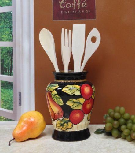 Tuscany-Black-Decor-Winter-Fruit-Kitchen-Utensil-Holder-Tuscan-Italian-Italy