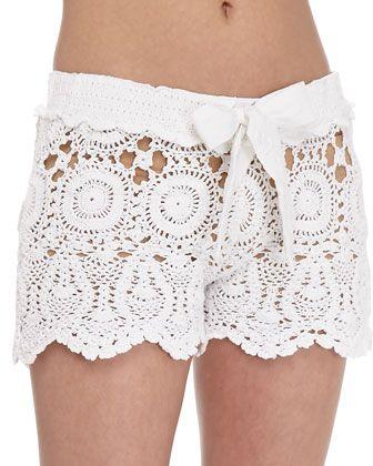 Crochet Tie-Waist Shorts White