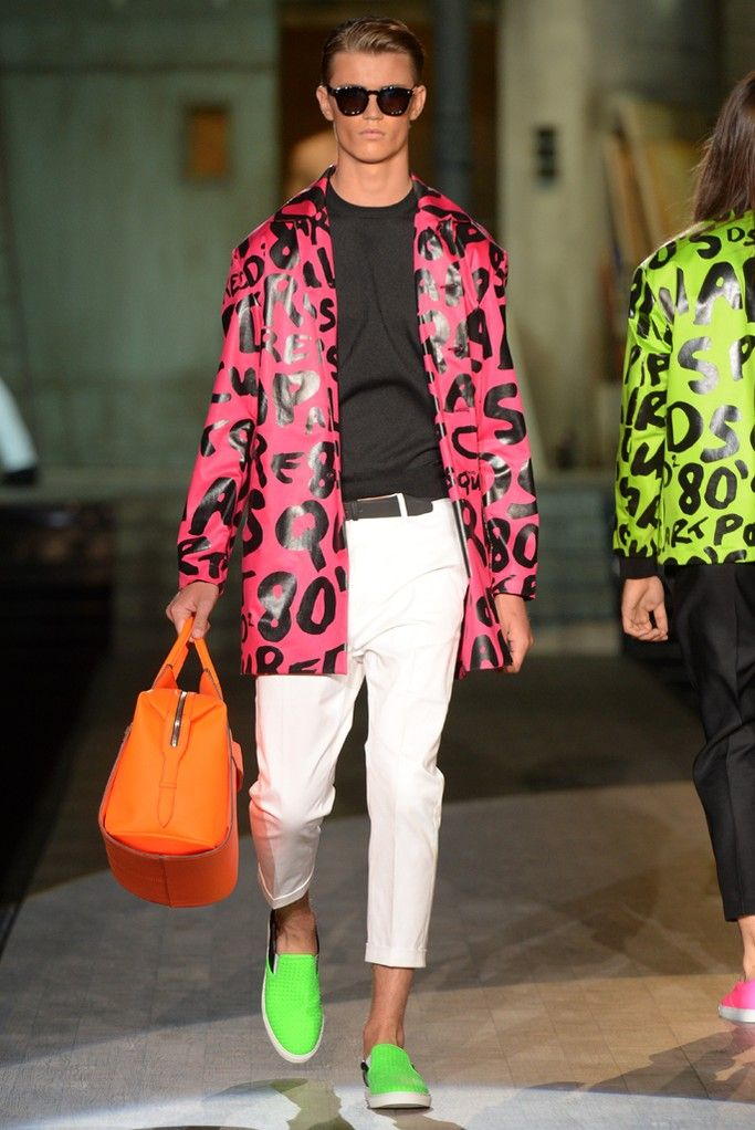 Dsquared2 Men's RTW Spring 2015 - Slideshow  Coat design, color/print and silhouette all a fun combo.