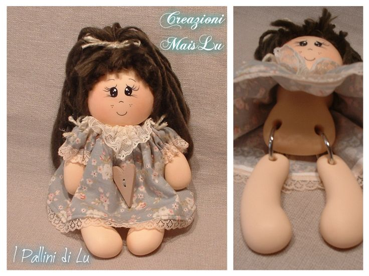 Molly - I Pallini di Lu Bambolotta da appoggio con corpo in pasta di mais e gambe mobili