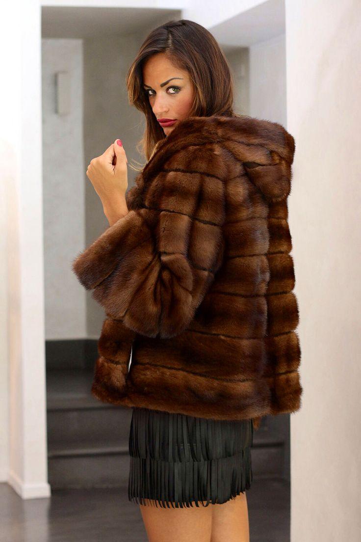 Demi Buff Mink Fur Hooded Jacket
