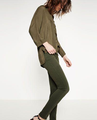 Skinny green pants Zara