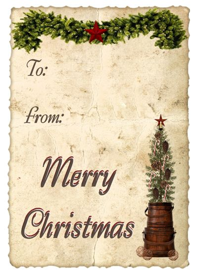 From another pinner:  From Me To You...  Free primitive Christmas name tags.  Visit her blog to see all of them.  ~Tam