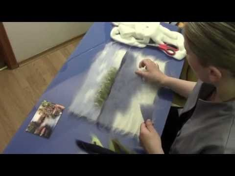 "ЖИВОПИСЬ ШЕРСТЬЮ "" БЕРЕГ"" / FELTING of PICTURE / HOW TO MAKE A PICTURE of WOOL - YouTube"