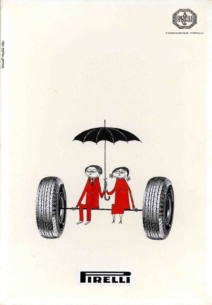 Mario Brunati, Sandro Mendini, Ferruccio Villa, advertisement for Pirelli tyres, 1950s http://www.fondazionepirelli.org
