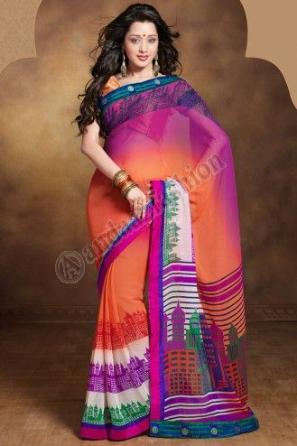 Pink+Orange Georgette Saree with Orange blouse available in our online store. Embroidery patch patta Work. More Details Visit @ http://www.andaazfashion.com.my/eid-collection-2014/saree-collection/pink-plus-orange-georgette-saree-15860.html