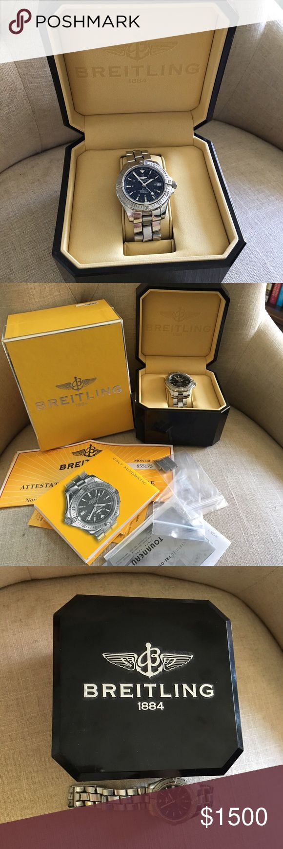 Breitling men's watch. 100% Authentic men's Breitling 38MM Colt A17350 Automatic chronometer watch. Gently used, needs cleaning. Works perfectly. Comes with all paperwork, links, certification. Breitling Accessories Watches