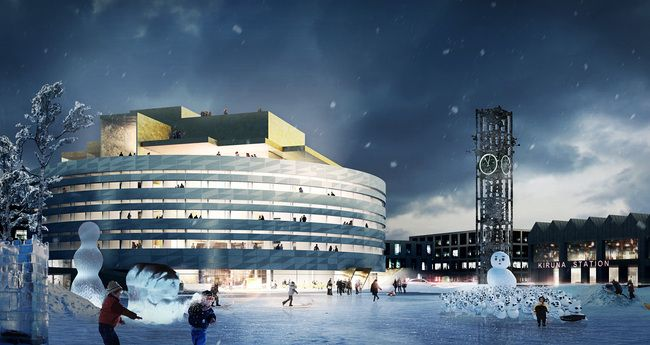 Night view of the competition-winning entry for the new city hall in Kiruna, Sweden by Henning Larsen Architects in collaboration with Tema.